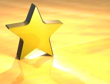 3D Star Gold Sign over yellow background Stock Photo - 13987037