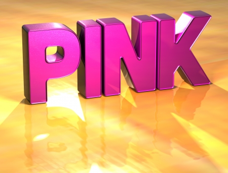 Word Pink on yellow background (high resolution 3D image)