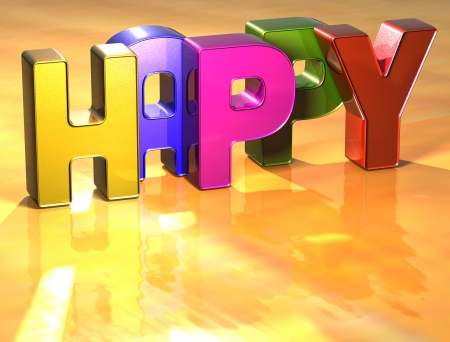 wariety: Word Happy on yellow background (high resolution 3D image) Stock Photo