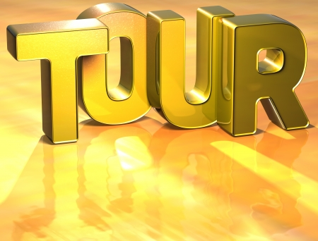 Word Tour on yellow background (high resolution 3D image) Stock Photo - 13987113
