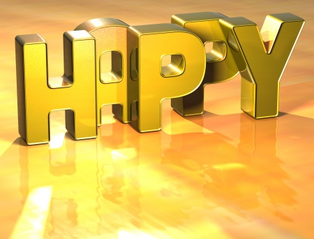 Word Happy on yellow background (high resolution 3D image) photo