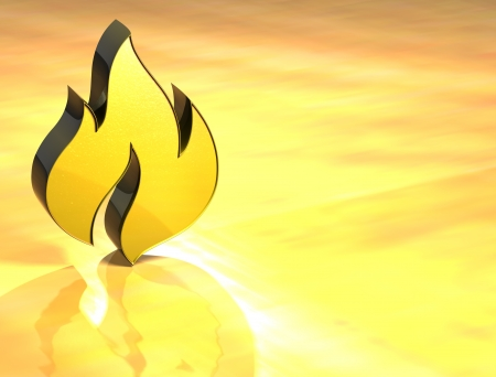 3D Flame Gold Sign over yellow background  photo
