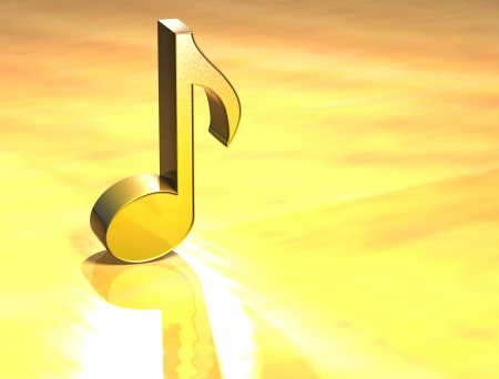 3D Music Note Gold Sign over yellow background Stock Photo - 13987051