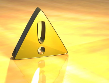 3D Attention Gold Sign over yellow background Stock Photo - 13987040