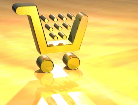 3D Shopping Card Gold Sign over yellow background photo