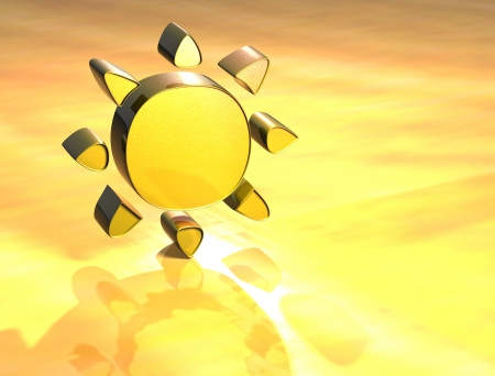 3D Sun Gold Sign over yellow background photo