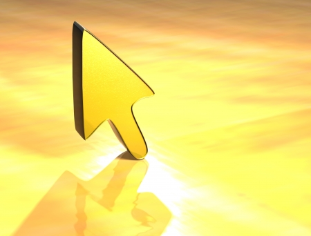 3D Arrow Gold Sign over yellow background Stock Photo - 13987052