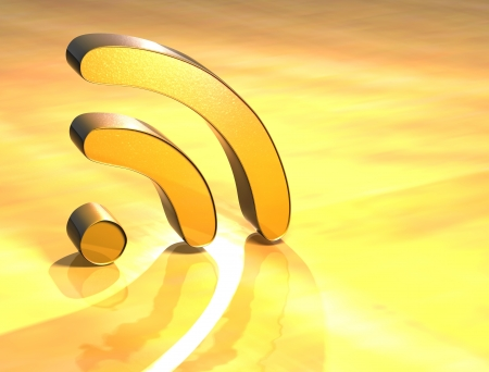 syndication: 3D Rss Gold Sign over yellow background