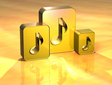 3D Music Note Gold Sign over yellow background photo