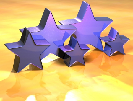 3D Stars Gold Sign over yellow background photo