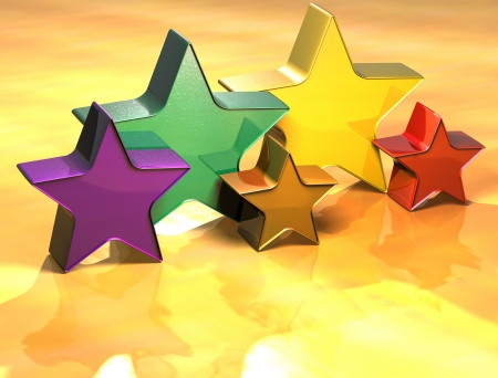 3D Stars Gold Sign over yellow background Stock Photo - 13987102