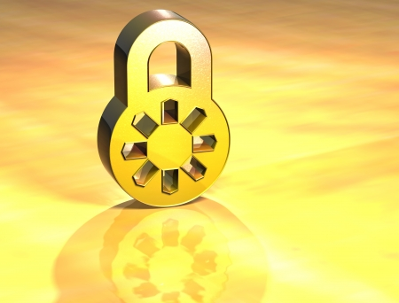 validated: 3D Closed Padlock Gold Sign over yellow background