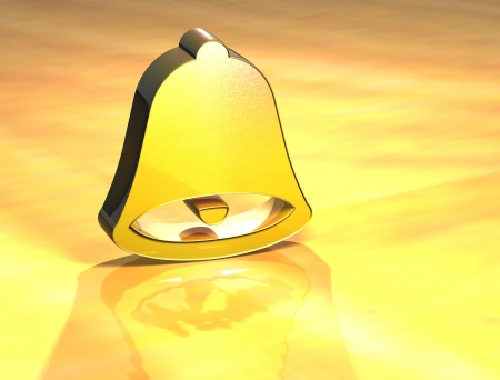 handbell: 3D Bell Gold Sign over yellow background