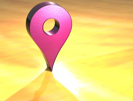 3D Map Pin Pink Sign over yellow background photo