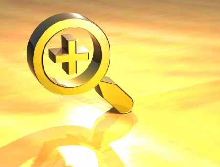 3D Zoom In Gold Sign over yellow background Stock Photo - 13987054