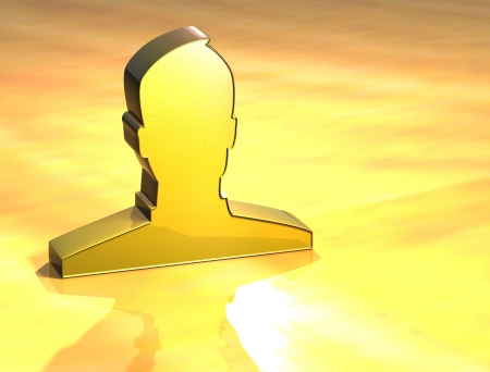 3D Social Network Gold Sign over yellow background photo