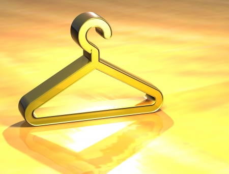 cloakroom: 3D Cloakroom Gold Sign over yellow background Stock Photo