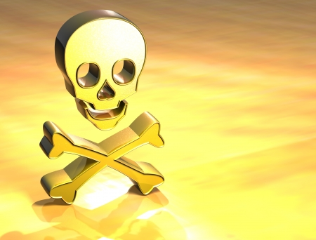 3D Poison Gold Sign over yellow background photo