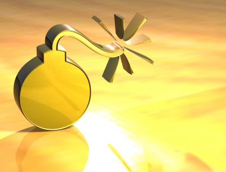 3D Bomb Gold Sign over yellow background Stock Photo - 13987088