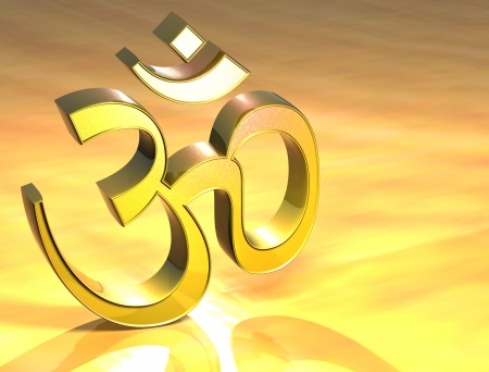 ohm: 3D Hinduism Gold Sign over yellow background Stock Photo