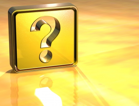 3D Question Gold Sign over yellow background Stock Photo - 13987085