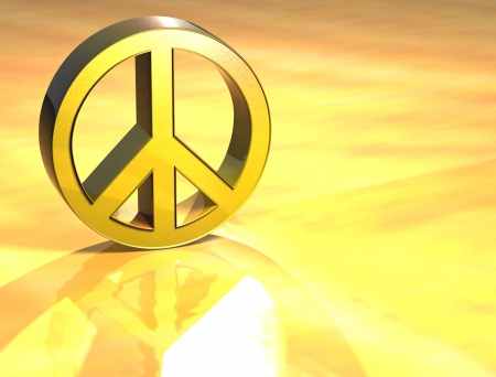 3D Peace Gold Sign over yellow background photo