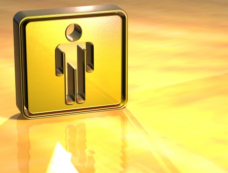 3D Men Toilet Gold Sign over yellow background photo