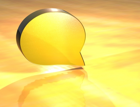3D Speech Bubble] Gold Sign over yellow background photo