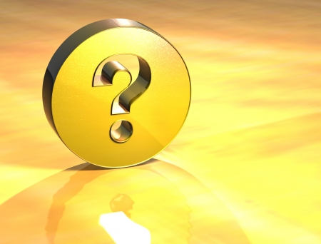 3D Question Gold Sign over yellow background photo