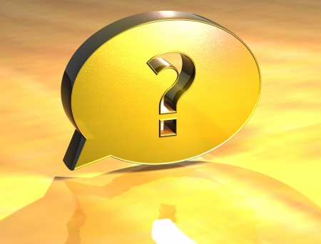 3D Question Gold Sign over yellow background Stock Photo - 14042370