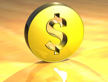 dolar: Dolar 3D Sign oro sobre fondo amarillo Foto de archivo