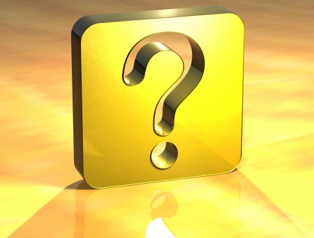 3D Question Gold Sign over yellow background Stock Photo - 14042361