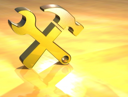3D Tools Gold Sign over yellow background Stock Photo - 14042354