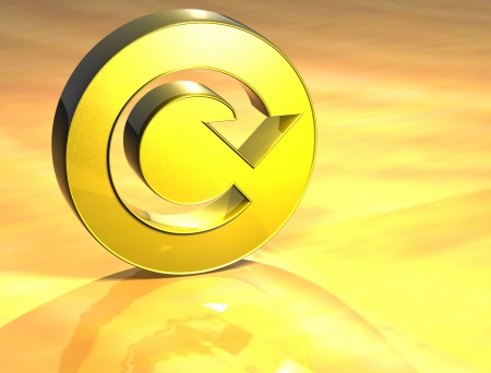 reiterate: 3D Refresh Gold Sign over yellow background