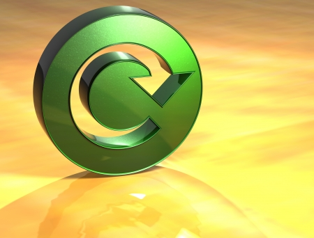reiterate: 3D Refresh Green Sign over yellow background