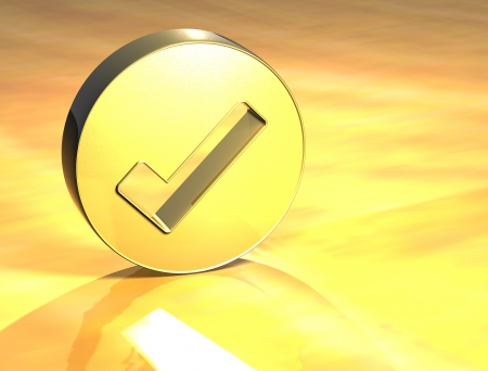 3D OK Gold Sign over yellow background  photo