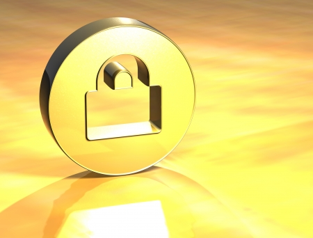 3D Closed Padlock Gold Sign over yellow background Stock Photo - 14053144
