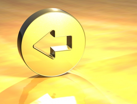 3D Arrow Gold Sign over yellow background  Stock Photo - 14053153