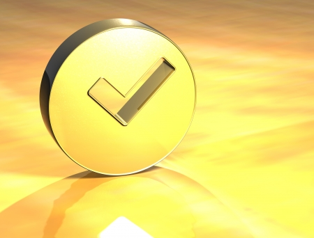 3D OK Gold Sign over yellow background