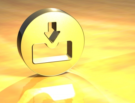 3D Download Gold Sign over yellow background Stock Photo - 14053143