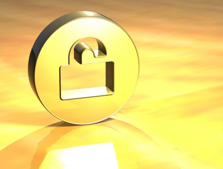 3D Open Padlock Gold Sign over yellow background  Stock Photo - 14053141