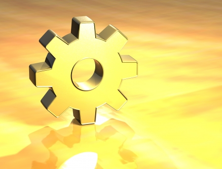 3D Gear Gold Sign over yellow background  photo
