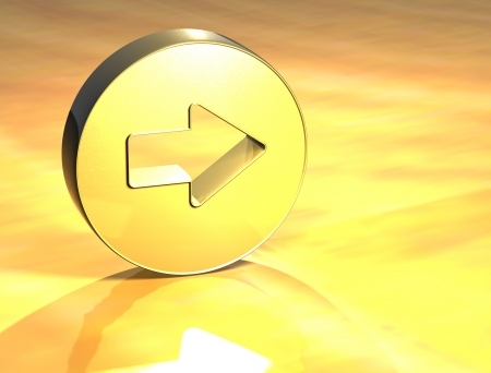 3D Arrow Gold Sign over yellow background Stock Photo - 14053615