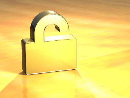 3D Open Padlock Gold Sign over yellow background Stock Photo - 14053129