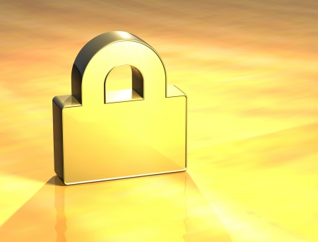 3D Closed Padlock Gold Sign over yellow background Stock Photo - 14053128