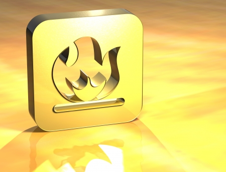 3D Fire Gold Sign over yellow background  photo