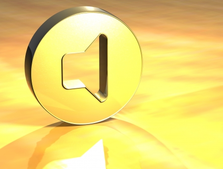 3D Voice Gold Sign over yellow background  Stock Photo - 14067204