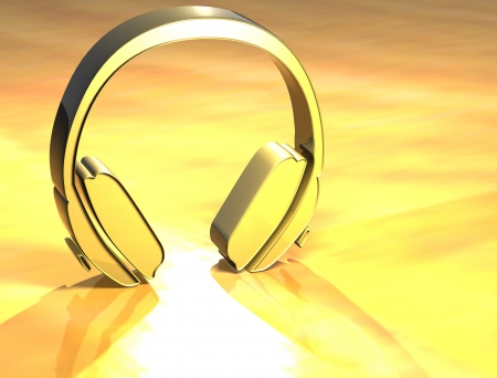 3D Headphones Gold Sign over yellow background Stock Photo - 14067205