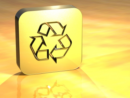 3D Recycle Gold Sign over yellow background  photo