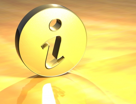 3D Information Gold Sign over yellow background  photo